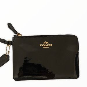 COACH black patent leather wristlet